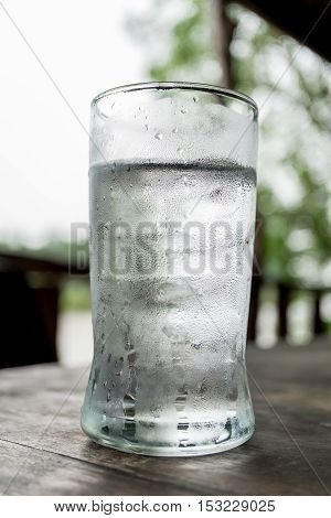 Cold drinking water on the table at lunch