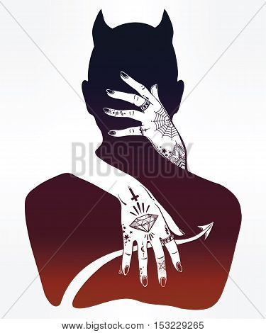 Hand drawn beautiful silhouette artwork of a demon in a hug. Mystic lady with tattooes hugging Satan. Alchemy, religion, spirituality, occultism, tattoo art. Isolated vector illustration.