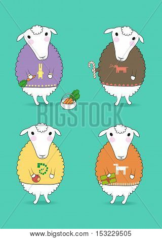 Cartoon white sheeps with colorful pullovers and new years attributes - carrot candy apple gift. Patterns of chinese horoscope - rabbit dragon nake horse. Vector illustration