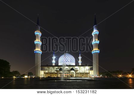 View of Shah Alam Mosque during night time.