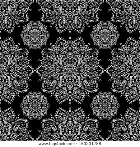 Seamless oriental pattern. Black and white floral medallion print.