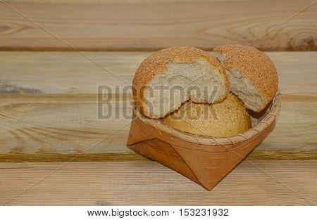 bread on a wooden table fresh bakery for breakfast