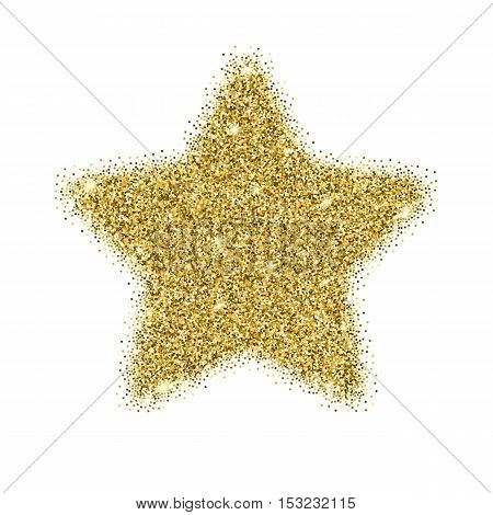 Icon of Five-pointed star with gold sparkles and glitter, glow light, bright sequins, sparkle tinsel, shimmer dust. Five-pointed star sign isolated on white background
