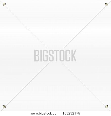 White brushed, polished metal background with screws in a corners.