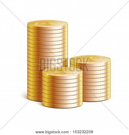 Stacks of gold coins, vector illustration. Details and realistic 3d stacks of coins with reflections and shadows