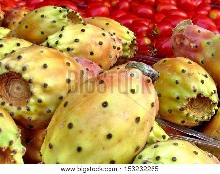 Sabra fruit on bazaa on bazaar in Tel Aviv Israel August 29 2012