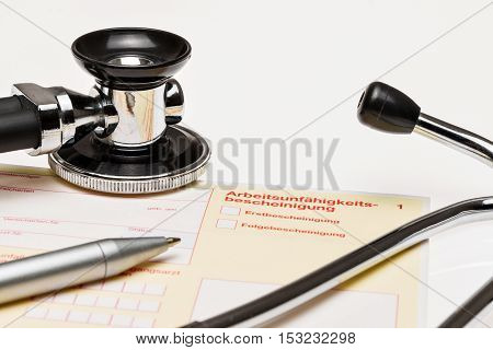 Sick, Yellow Certificate On Desk (a German Form)