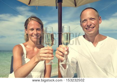 Couple Relaxation Champagne Celebration Beach Concept