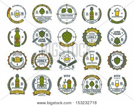 Outline colorful vector beer emblems, symbols, icons, pub labels, badges collection