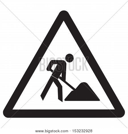 Men at work sign road work icon dig street