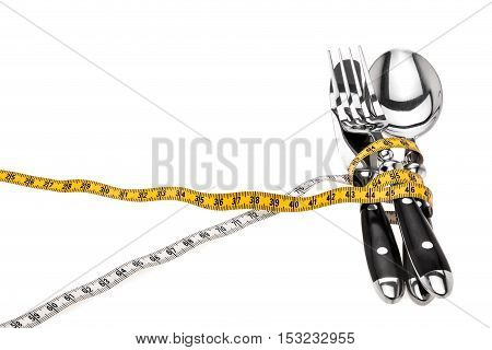 Cutlery Wrapped With A Tape Measure, Symbol For A Diet