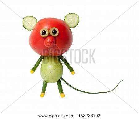Funny mouse made of red and green tomato on white background