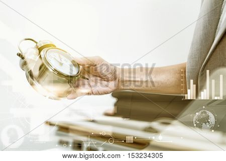Look At Clock And Recheck Document Or Planing Data For Business Market Target And About Accounting S