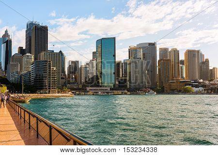 Circular Quay Sydney Australia area is a popular neighborhood for tourism and consists of walkway, pedestrian malls, park, Sydney Harbour Bridge and Sydney Opera House. Oct 25,2016