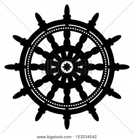 Ship steering wheel sign or symbol, vector illustration