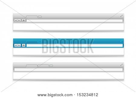 Opened browser headers set. Vector mockup. Paste your content into it