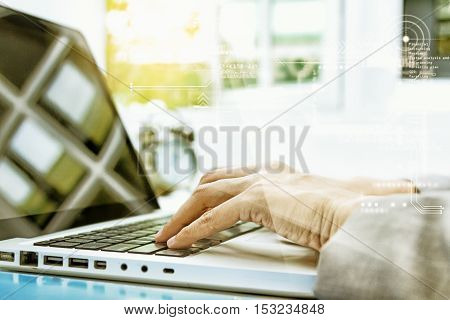 Business People Write Something About Meeting Subject On Laptop Computer, Business Content And Busin