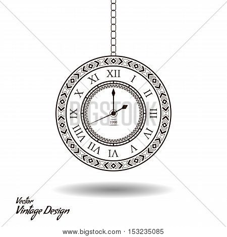 Vector vintage clock dial. Classic antique watch isolated. Ancient retro timer design. Traditional silhouette. Old graphic timer object design. Elegant sign
