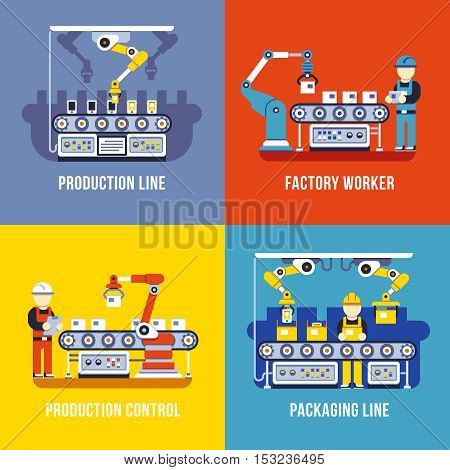 Manufacturing industry, production line, factory worker vector flat concepts set. Manufacture and management conveyor illustration