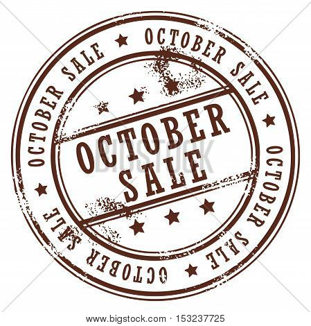 Grunge rubber stamp with small stars and the word October Sale inside, vector illustration