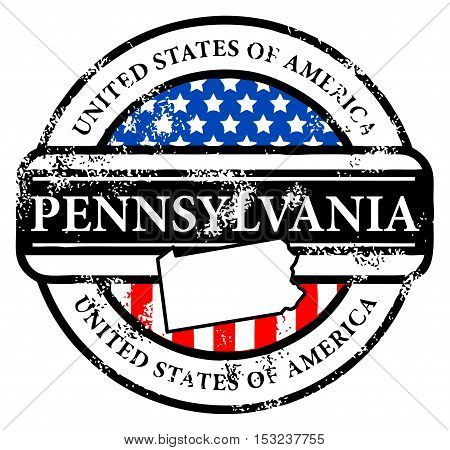 Grunge rubber stamp with name of Pennsylvania, vector illustration