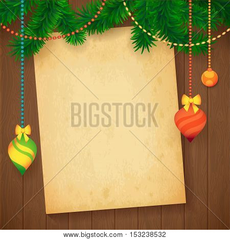 Decorated Merry Christmas Tree Branch. Happy New Year decoration frame on Wood with Cardboard for your Text. Vector Illustration.