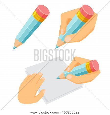 Hand with pencil set. Process of writing, drawing and sketching. Office and artist tool. Hand holding pencil cartoon vector. Working in office, education, hobby and creative concept. Pencil in hand.
