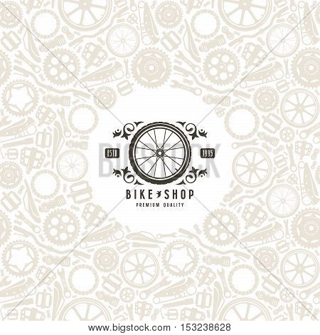 Bike shop label in retro style and frame with pattern. Print on white background