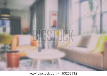Blur background modern style  interior living space