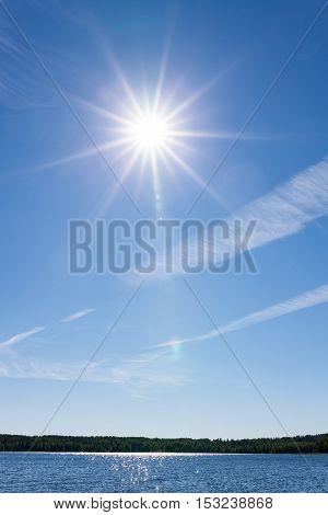 Sun shining blue sky over lake background