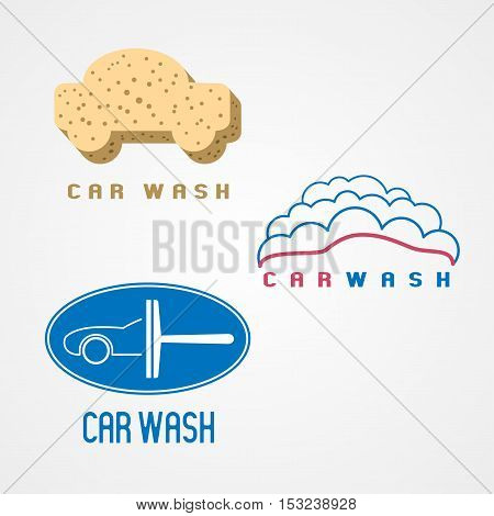 Carwash car wash set of vector logo icon symbol emblem sign. Graphic design elements for business related to cars cleaning