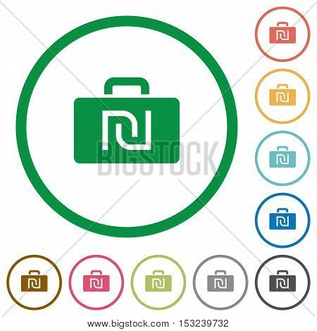 Israeli new Shekel bag flat color icons in round outlines