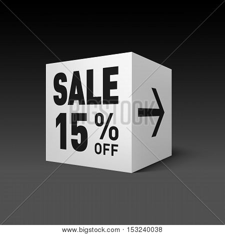 Cube Banner Template for Holiday Sale Event. Fifteen Percent off Discount