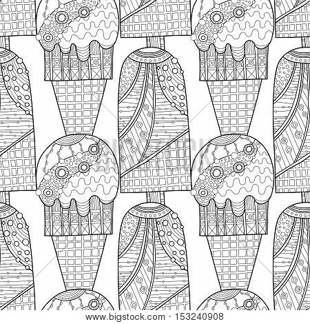 Black and white seamless pattern with decorative ice cream for coloring book. Vector illustration