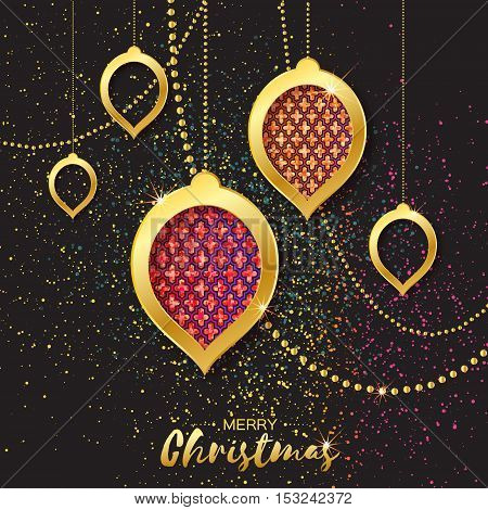 Merry Christmas Golden Glitter Pink Orange balls. Beautiful Decoration Bauble elements and garlands on black background. Happy New Year Greeting card. Vector design illustration