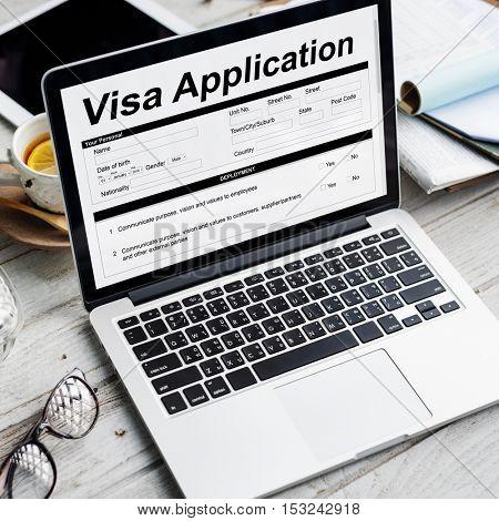 Visa Application Form Documentation Concept