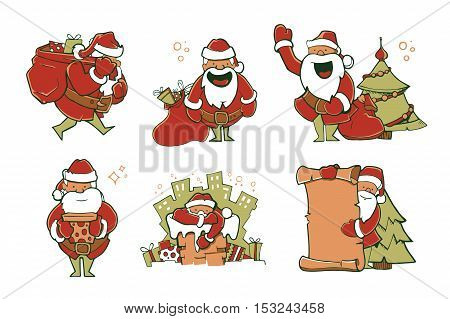 Vector illustration set of Christmas Santa Claus in different poses. Picture isolate on white background