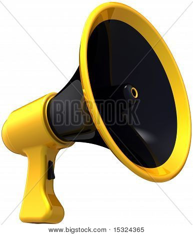 Megaphone stylized black with yellow parts