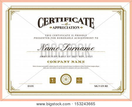 Vintage retro classic frame certificate background design template