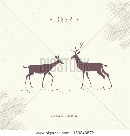 Beautiful and amazing silhouette stylized two deer. Stylish vector illustration