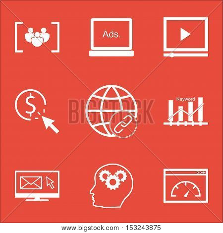 Set Of Marketing Icons On Loading Speed, Video Player And Digital Media Topics. Editable Vector Illu