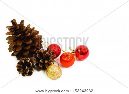 pine cones and christmas red balls for decorate.
