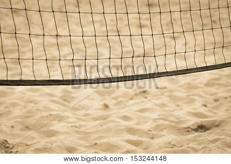 grid of beach volleyball closeup against the background of the sandy coast