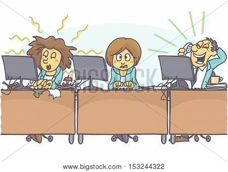 Funny cartoon of woman with bad coworkers at office, one is sloppy and untidy, stinking, and other is loud. Vector cartoon of bad coworker situation at work. Bad behavior at work.