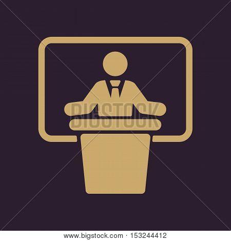 The speech icon. Speak and broadcaster, orator, presentation, conference symbol. Flat Vector illustration