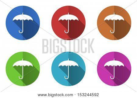Umbrella flat design vector icons