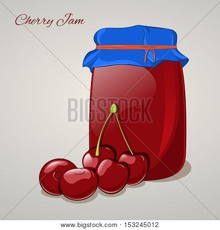 Cherry jam in a jar and fresh cherries isolated on grey background. Simple cartoon style. Vector illustration.