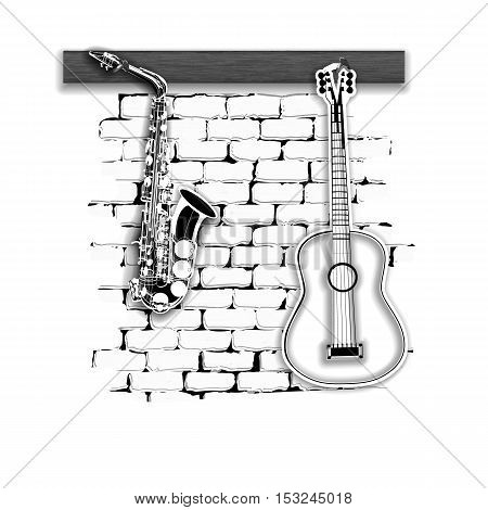 Musical instruments pattern saxophone and acoustic guitar on the brick wall monochrome. Isolated on white background can be used with any text or image.