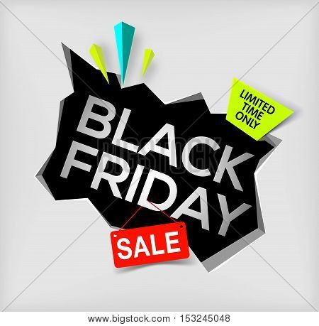 Black friday banner on gray background. Cracked hole in wall with black friday inscription. Sale and discount. New offer. limited time only. Vector illustration.