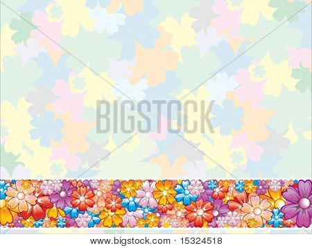 Vector Pastel Flowers Background with Border Element